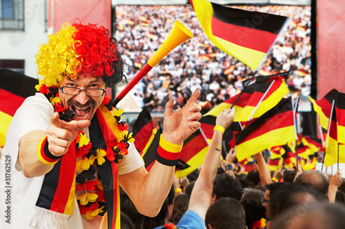 german soccer fan at open air live broadcast