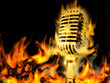 Gold vintage microphone on fire