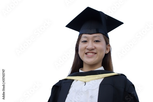 Smiling asian graduate lady on white background