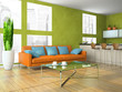 Part of the modern living-room in green colour