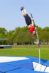 jumping over with the pole vault