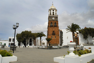 Main Square of Teguise on  Lanzarote in Canary Islands, Spain