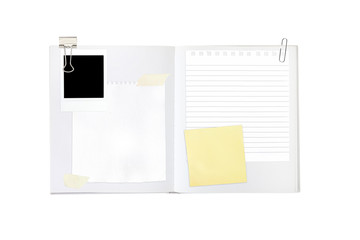 open book with empty space for notes and images