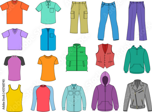 Man clothes colored collection