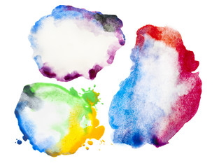 Three Colorful watercolor blot