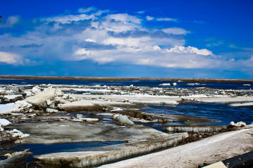 Panorama ice in the river