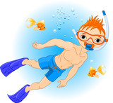Boy swimming under water
