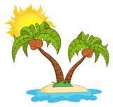 Cartoon Island With Two Palm Tree
