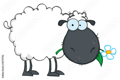 Black Sheep Cartoon Character Eating A Flower