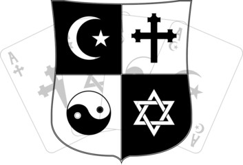 stencil of shield and religious symbols