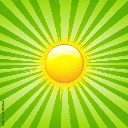 Bright Sunburst With Beams And Sun