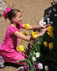 Young Girl Looking at Tulips