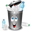 Riciclaggio Plastica-Bidone Cartoon-Plastic Recycle Bin-Vector