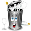 Riciclaggio Vetro-Bidone Cartoon-Glass Recycle Bin-Vector