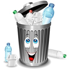 Riciclaggio Plastica-Bidone Cartoon-Plastic Recycle Bin-Vector