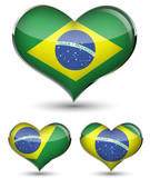 set of Brazil flag in the glossy heart