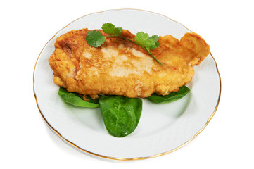 Schnitzel with sorrel leaves and cilantro