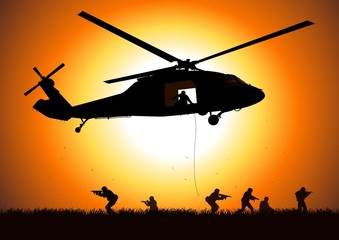 helicopter is dropping troop