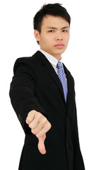 A businessman showing the thumbs down