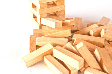 Stack of wooden rectangular blocks on white background
