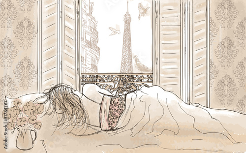 Papiers peints Peint Paris woman sleeping in Paris