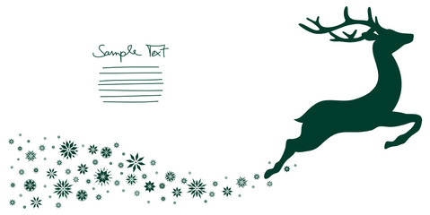 Flying Reindeer & Snowflakes Background Green
