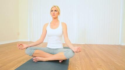 Blonde Girl in Yoga Class