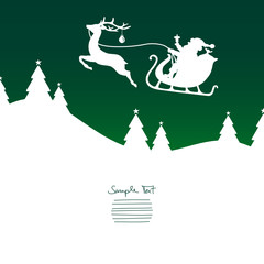 Christmas Sleigh Flying Reindeer Green