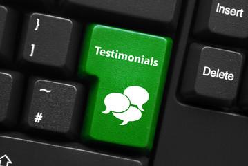 TESTIMONIALS Key (customer service satisfaction like web button)