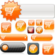 Shopping cart orange high-detailed icons.