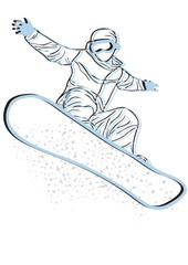 blue silhouette of snowboarder