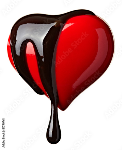 chocolate syrup leaking heart shape love