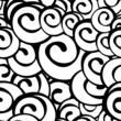 Seamless vector black and white spiral pattern