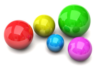 Colorful balls isolated on white background