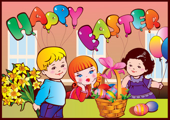 Happy Easter. Good childhood.  Vector art-illustration.