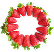 Sweet and juicy strawberries isolated on white background.