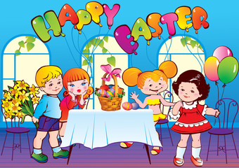 Happy Easter. Children. Vector art-illustration.
