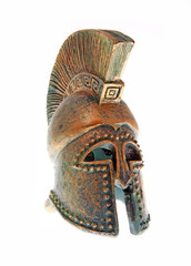 Greek bronze helmet.