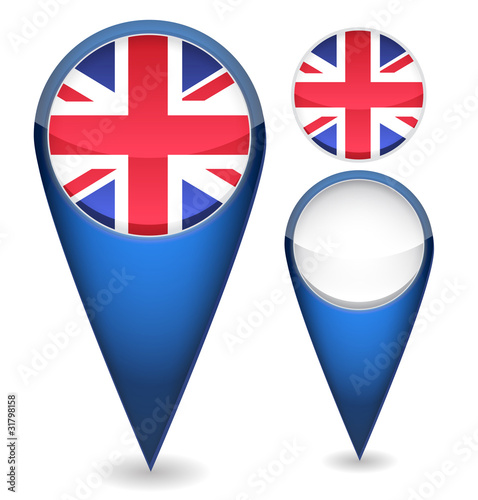 set of uk flag mapping pins