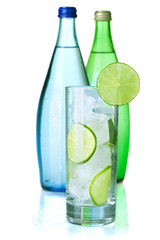 Glass of water with lime and ice