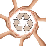 Multiracial human hands making a circle with recycle sign poster