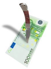Euro currency and knife