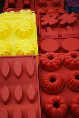 Colorful and differently shaped silicone baking pans