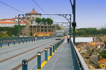 Railway track at Dom Luis Bridge in Porto, Portugal
