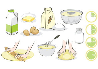Set of products and utensils for baking