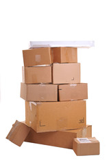 Boxes stacked on top of each other, over white