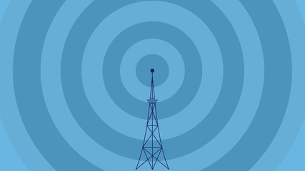 Bbroadcast tower with pulsing blue waves