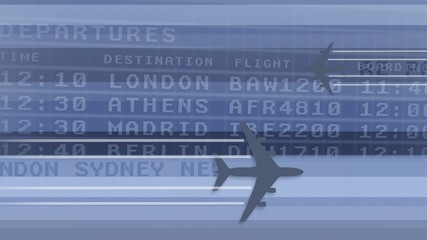 Airplanes flying with destination airport display