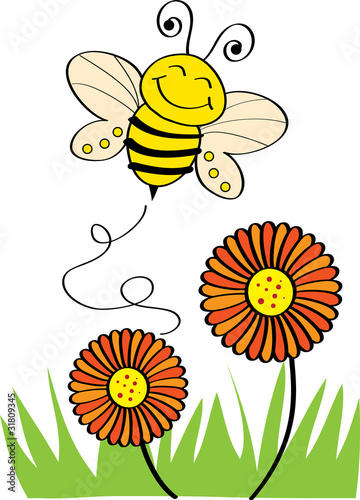 Stock Vector Illustration: Bee Flying
