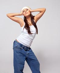 Young beauty woman tomboy dance hip hop
